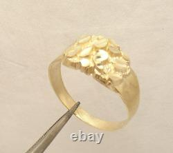 Size 11 Men's Diamond Cut Nugget Style Ring Real Solid 10K Yellow Gold