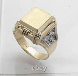 Size 11 Men's Engravable Pinky Signet Ring Real Solid 14K Yellow White Gold