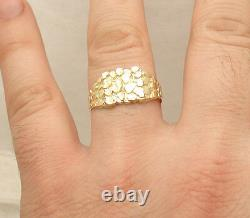 Size 11 Men's Nugget Style Band Ring Real Solid 10K Yellow Gold
