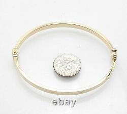 Small Average Size Oval Screw Design Hinged Bracelet Real 14K Yellow Gold