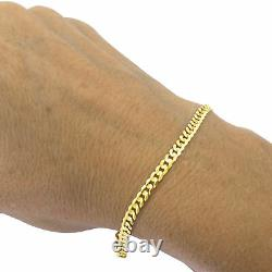 Solid 10K Yellow Gold Real 4mm Italian Cuban Link Curb Chain Bracelet 7 8 9