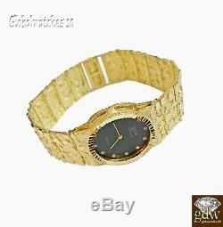 Solid 10k Gold Nugget Watch Real 10k Yellow Gold Mens Nugget Analog Watch 9 Inch
