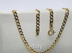 Solid Genuine 9ct Yellow Gold 3mm Men&Woman Curb Chain Necklace 375 Hallmarked