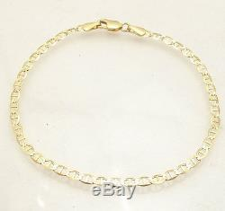 Solid Mariner Anchor Gucci Link Chain Bracelet Real 10K Yellow Gold ALL SIZES