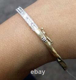Steal Deal! 1.30CT Natural Genuine Baguettes Round Diamond Bangle in 14KT Gold