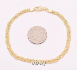 Triple Woven Braided Fox Tail Wheat Bracelet Real Solid 14K Yellow Gold 7