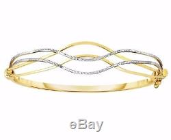 Two-Tone Wavy Textured Bangle Bracelet Real Solid 10K White Yellow Gold 7