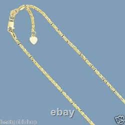 Up To 22 Solid Adjustable Sparkle Twisted Rock Chain Real 10K Yellow Gold 1.5mm