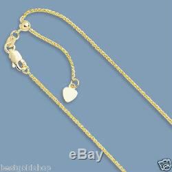 Up to 30 Solid Adjustable Wheat Spiga Chain Necklace Real 14K Yellow Gold 1.1mm