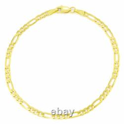 Womens 14K Yellow Gold REAL 3.5mm Italian Figaro Chain Link Bracelet Anklet 9