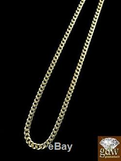 Yellow Gold Miami Cuban Link Chain Real 10k Gold Necklace 27 Inches, 3 mm